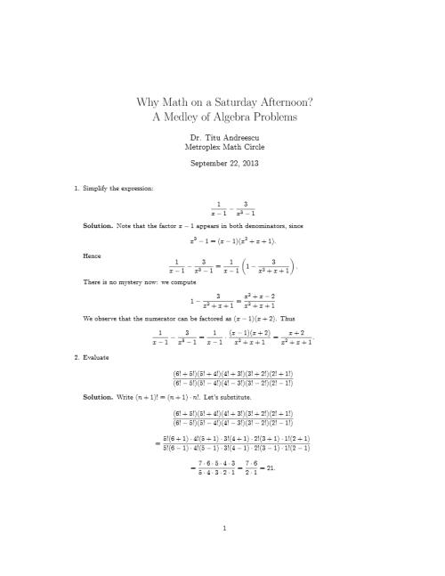 Medley of Algebra Problems